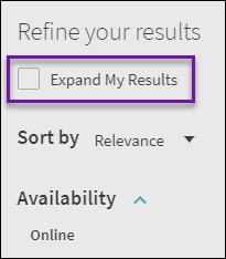 expand my results option