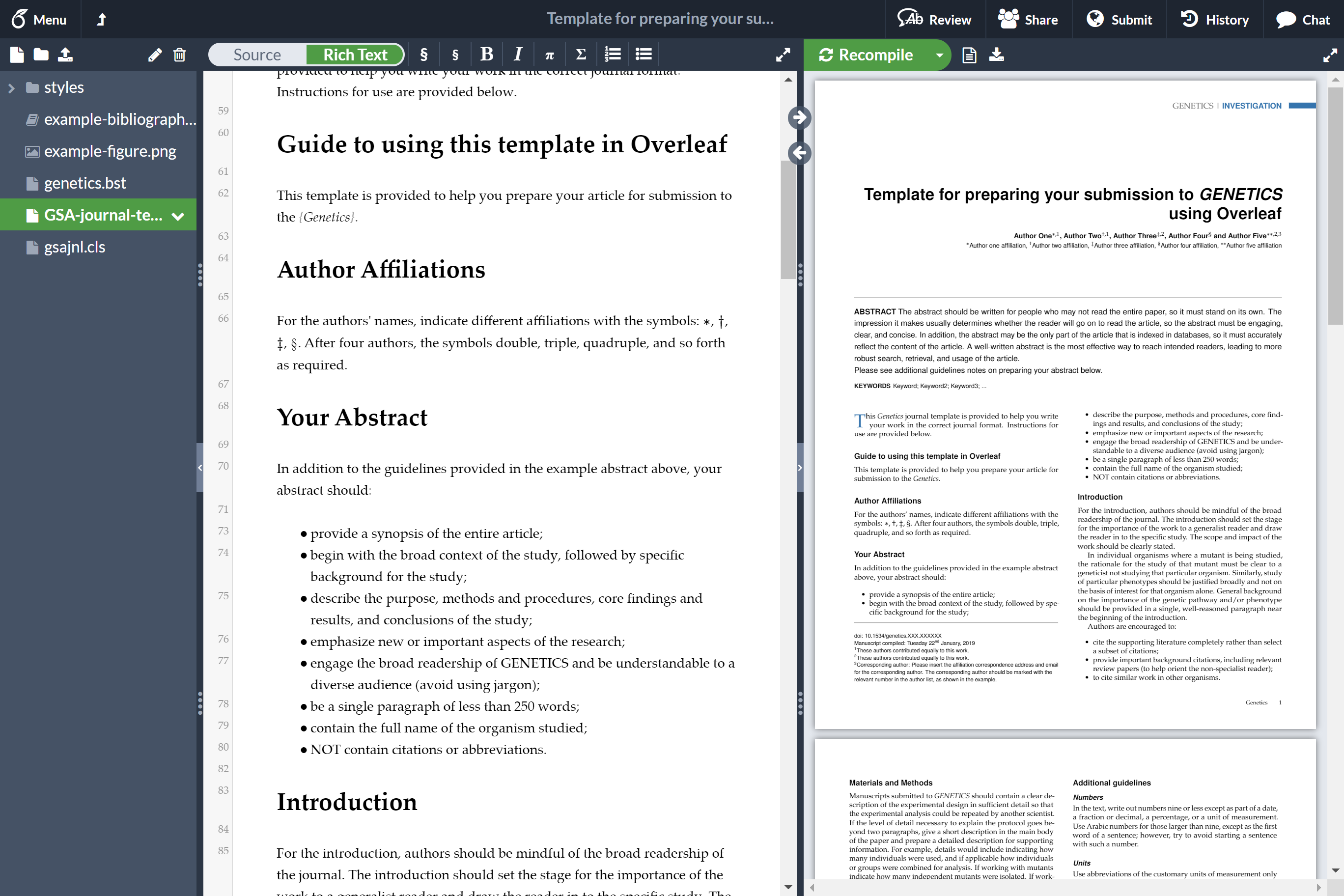 Screenshot guide to using template