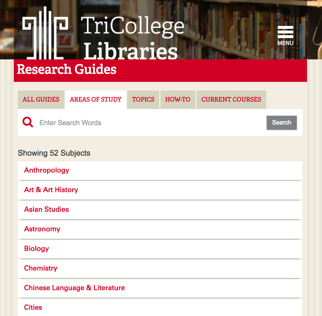 screenshot of trico libraries research guides