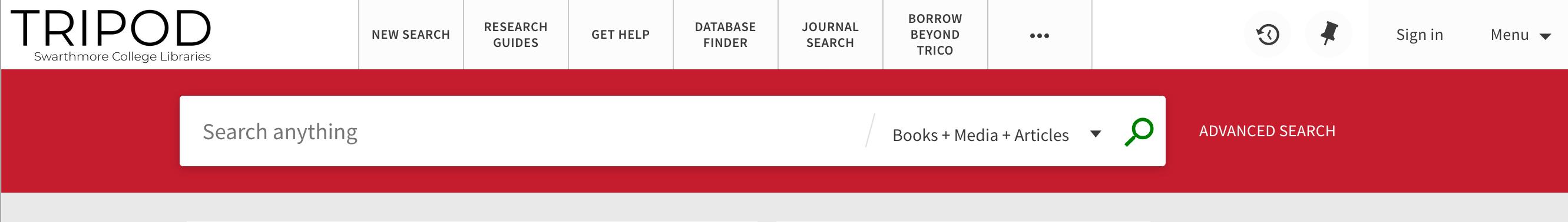 screenshot of tripod website