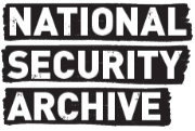 logo for national security archive, white text on black background