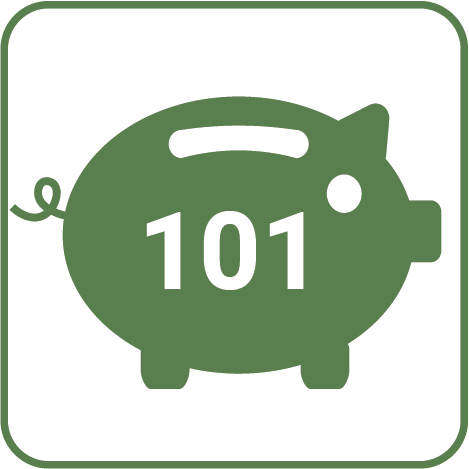 Green piggy bank with 101 written on it