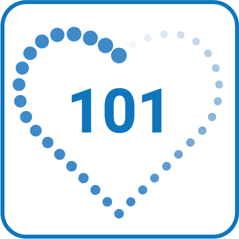 The Adulting 101 health logo is a blue heart with 101 in the middle.