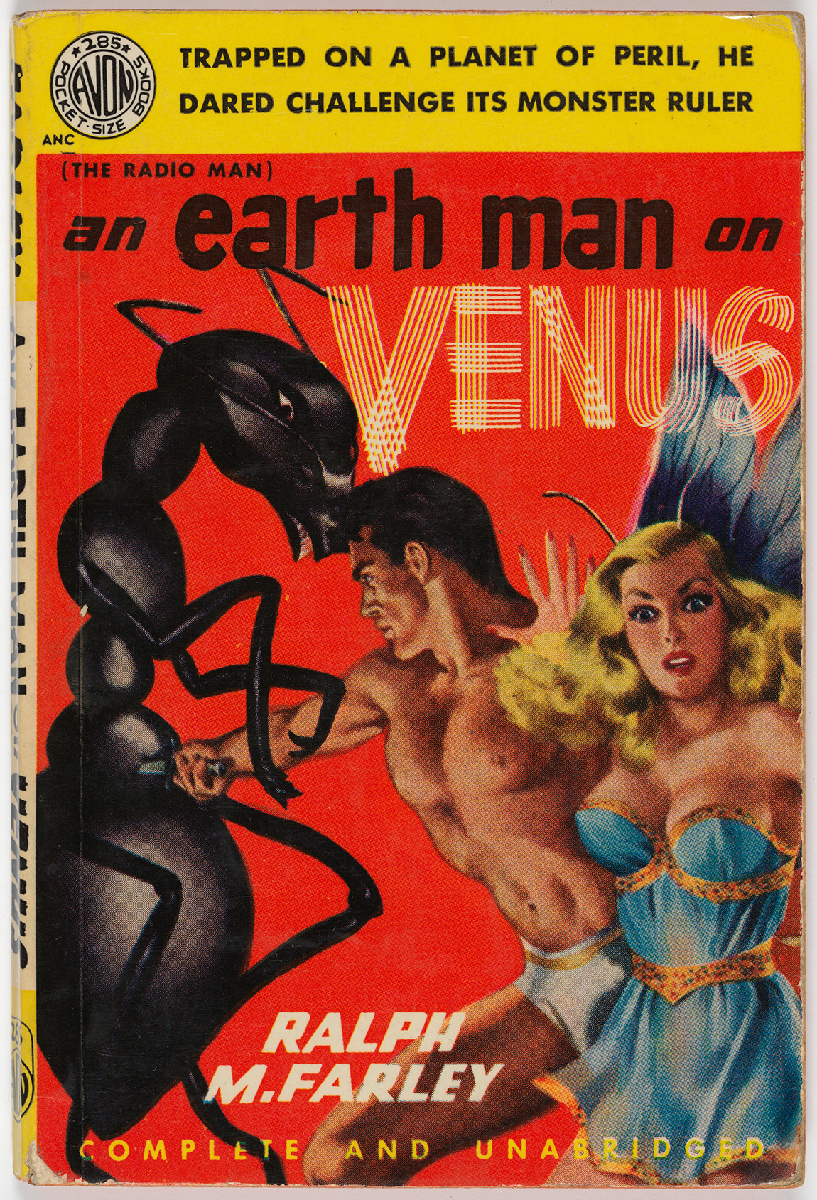 On this front cover, a buff man fights with a human-size ant and a startled woman faces outward. It reads,