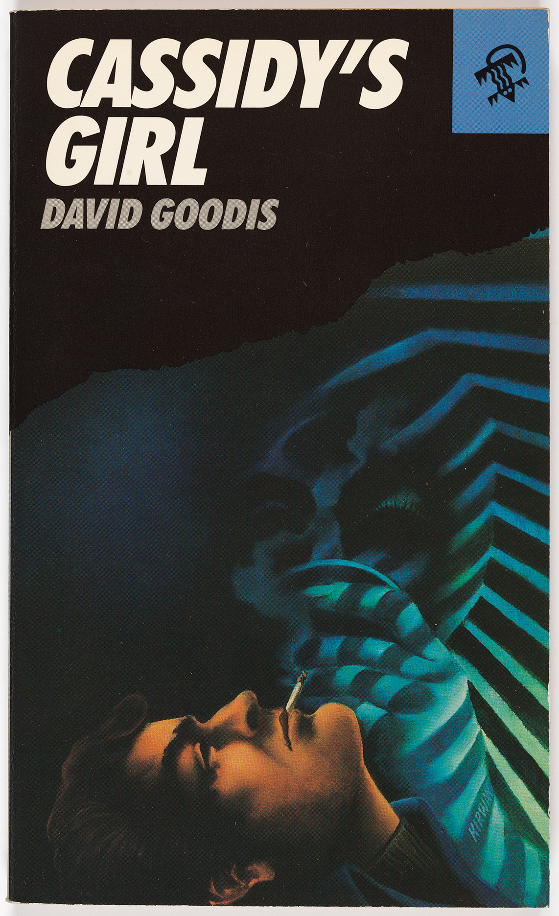 This novel by David Goodis shows a dark-haired man smoking, with just a side profile of his face visible at the bottom of the front cover. Above him, an abstract face and hand emerge from a striped dark blue fabric.