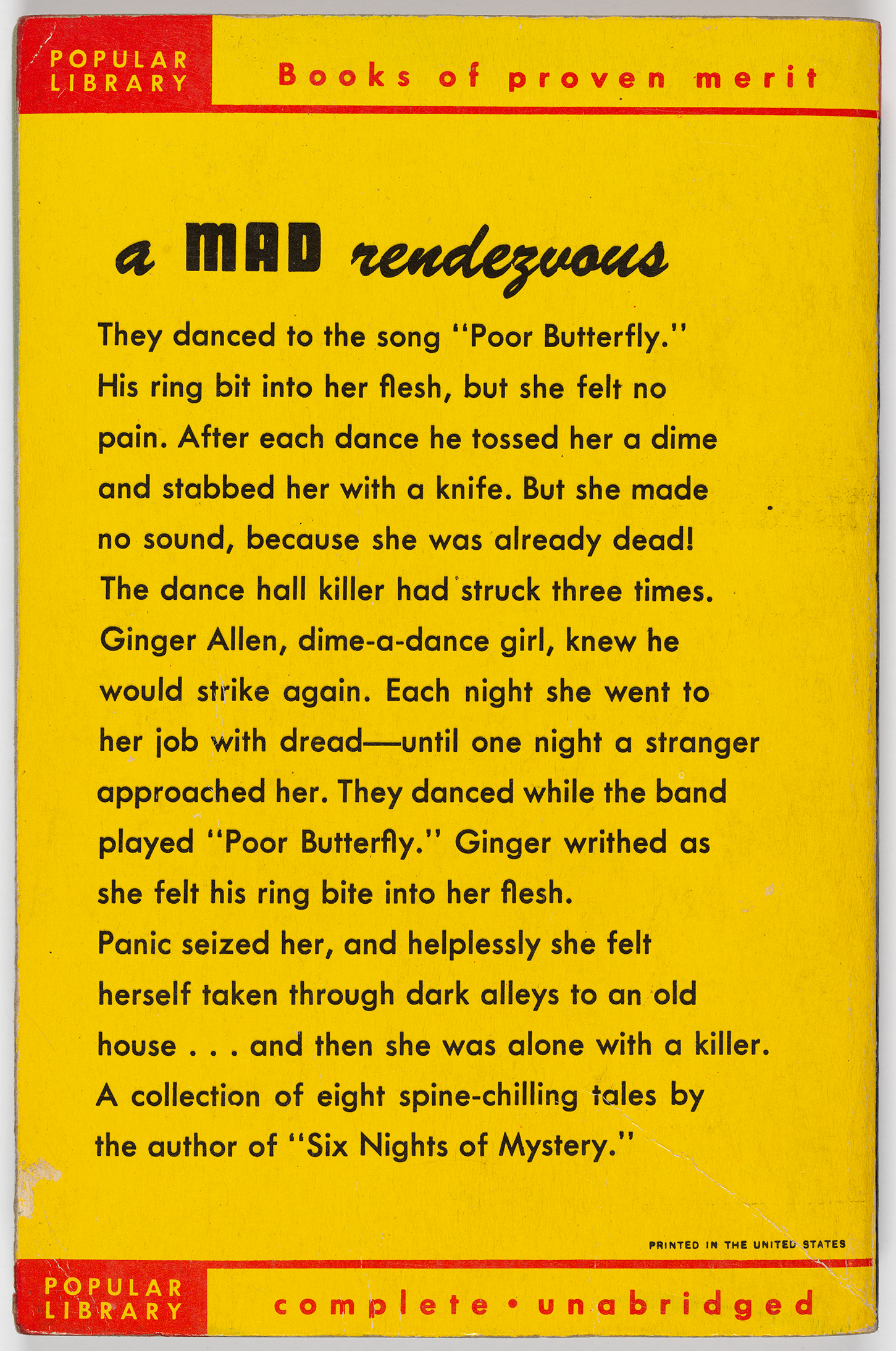 "The back cover describes the content of one of the stories from The Dancing Detective: ""A mad rendezvous … The dance hall killer had struck three times. Ginger Allen, dance-a-dime girl, knew he would strike again. Each night she went to her job with dread—until one night a stranger approached her … A collection of eight spine-chilling tales by the author of 'Six Nights of Mystery.'"""