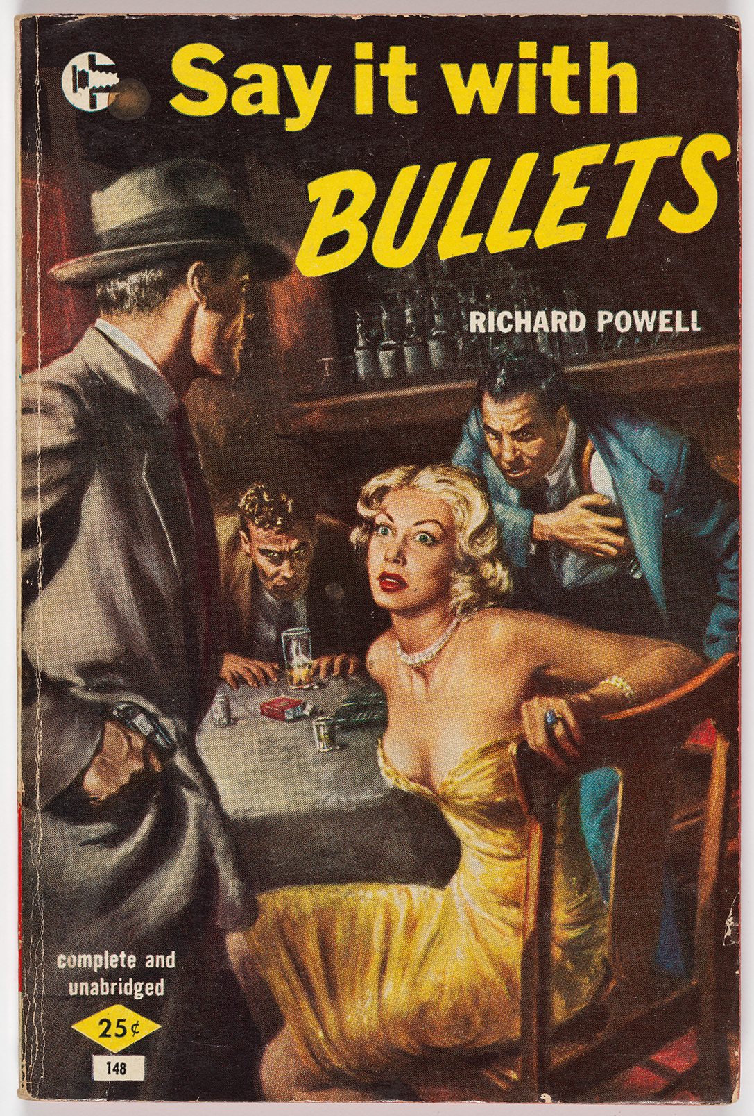 "The cover of this novel by Richard Powell shows a woman sitting at a table in what appears to be a restaurant with two grimacing men seated alongside her. She looks stunned, wheareas the men are hunching their shoulders menacingly towards her and fixing their gazes on her. A man dressed like a detective stands next to her, one hand submerged in his pocket and holding a visible gun. There is a yellow 25 cents sticker in the bottom left corner of the cover, and the title of the novel appears in bold yellow font, with ""BULLETS"" italicized and in all capital letters."