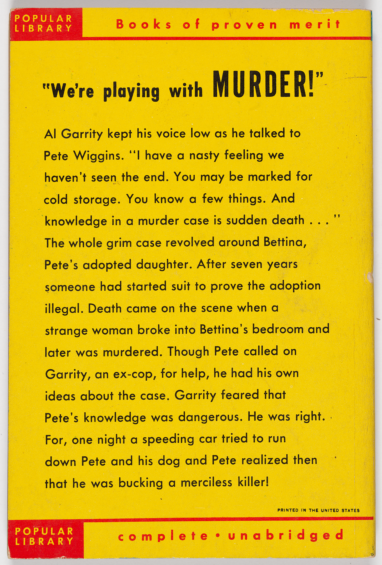 Murder at Midnight (Paperback 461), back cover