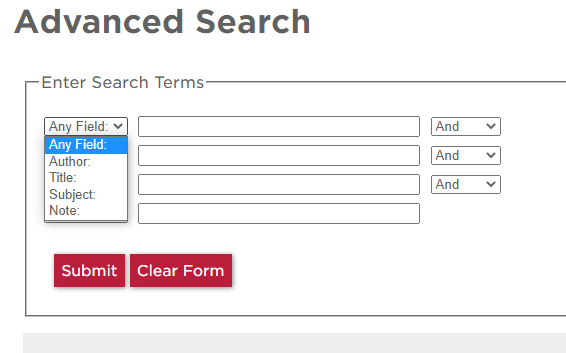Screenshot of the library catalog advanced search page.
