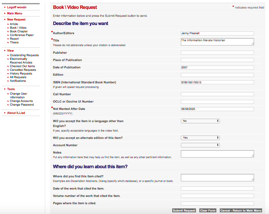 image of a complete book request form