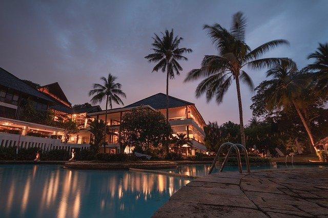 luxury hotel  view of pool