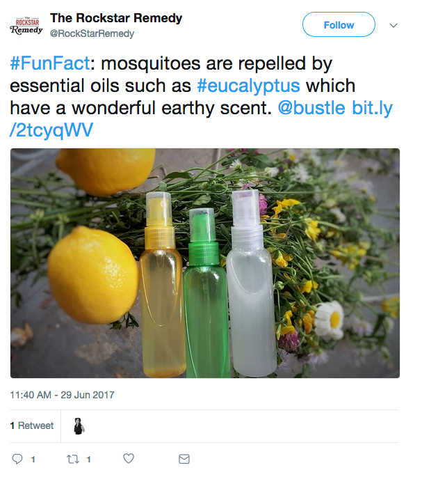 Tweet about repelling mosquitos