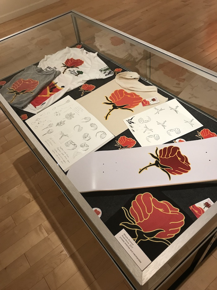 display of rose-ilience items and sketches