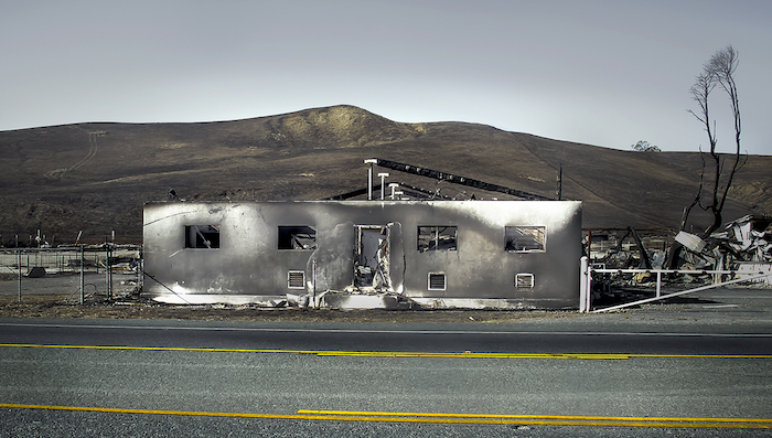 burned out dairy building