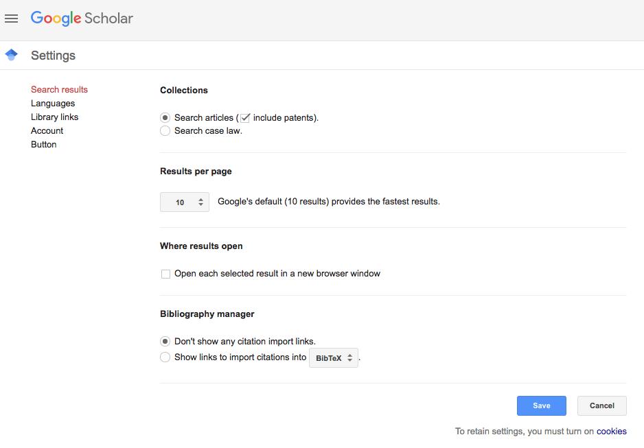 Google Scholar Menu