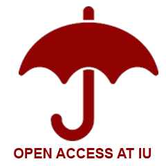 Red umbrella clipart with link to open access at IU web page