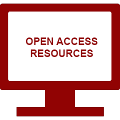 Red computer clipart with link to IU open access resources web page
