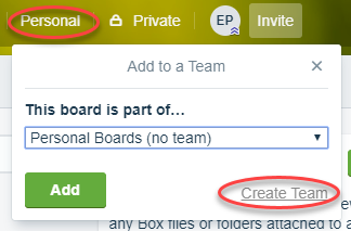 create a team in trello