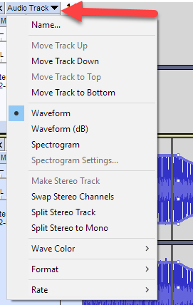 Track option in Audacity