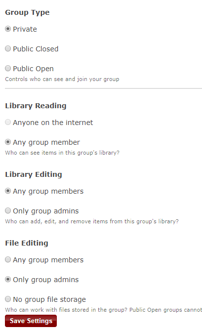 Group Settings in Zotero