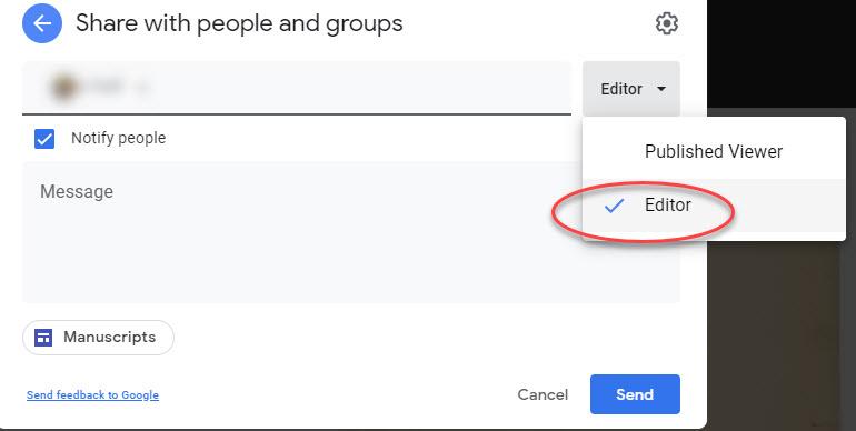 Invite editors to Google Sites