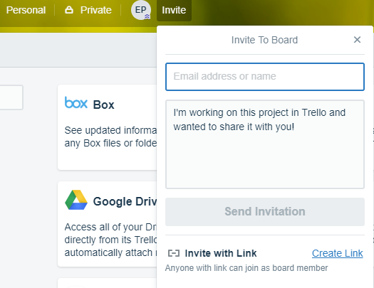 Invite individuals to a Trello board