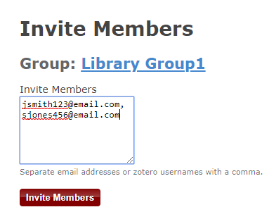 invite members to a zotero group