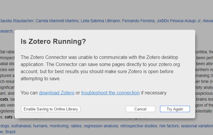 Is Zotero Running Pop-Up Window