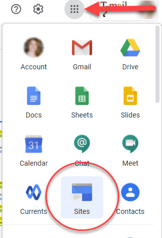 Locating Google Sites from the Top Menu