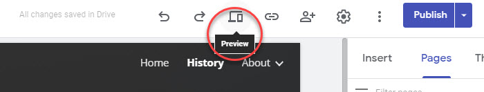 Preview a website in Google SItes