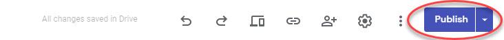 Publish button in Google Sites