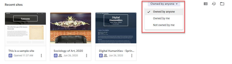 Recent sites on Google Sites