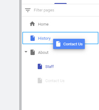 reorder pages in navigation
