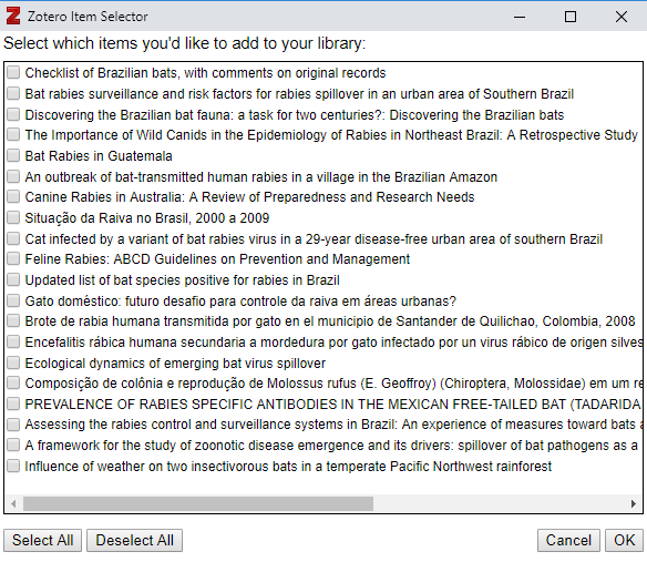 Select multiple items from Zotero