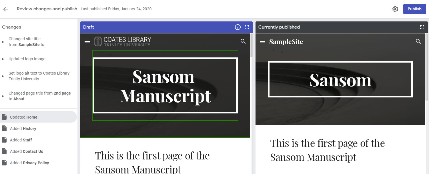 Side by side comparison of the draft and published versions in Google Sites