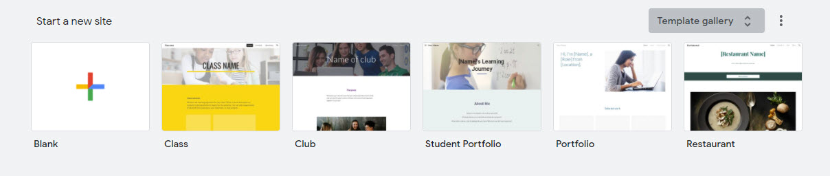 Start a new site from the template gallery