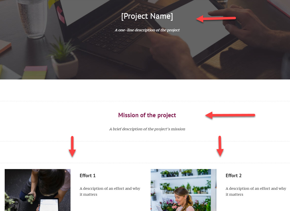 Projects Template sample within Google Sites