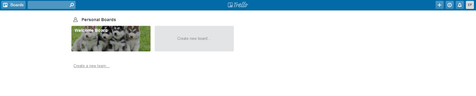 Trello Home Page and Welcome Board