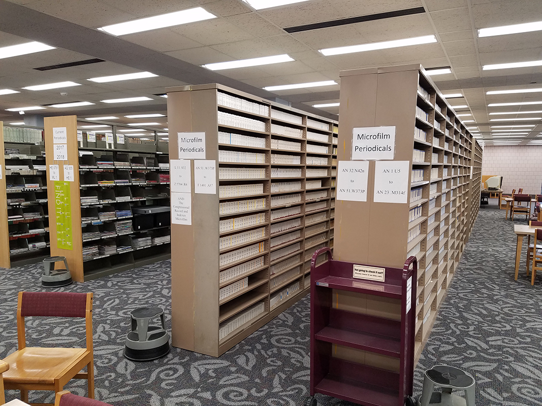 Microfilm shelves near periodicals