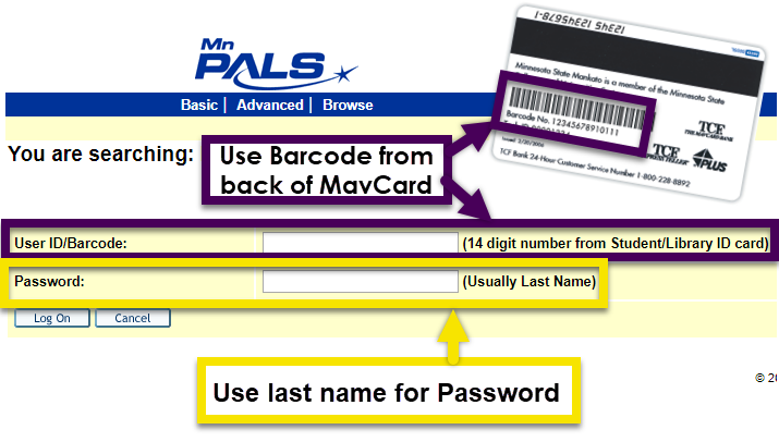 to submit an interlibrary loan you will need to log in with the number under the barcode on the back of your mavcard