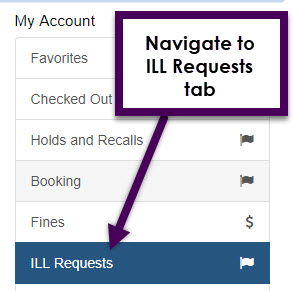 navigate to ILL requests tab under your account options.