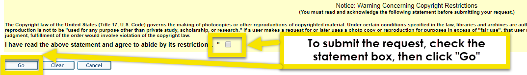 click the box to agree to the warning statement, then click the go button to submit your request