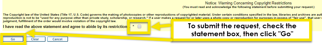 chck the box for the copyright statement and click go when you are ready to submit your request