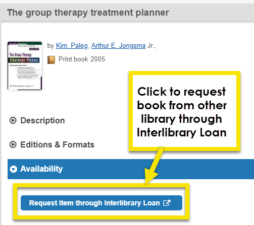 Click on request item through interlibrary loan button to request book