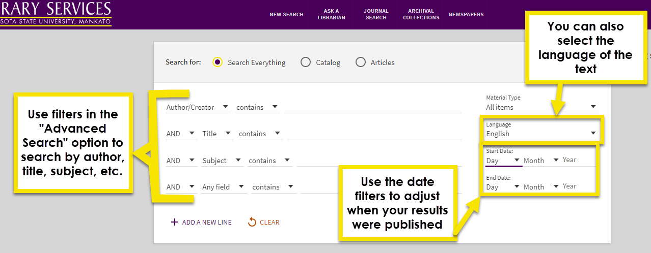 use the filters in an advanced search to search by title subject, author, language or date.