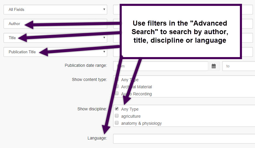 use the filters in the advanced search option to search by author title discipline or language