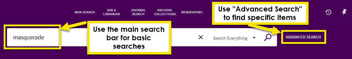 next to the mavscholar search bar there will be an advanced search option.Use it to find specific items.