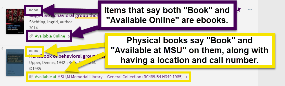 ebooks will say they are a book and available online. regular books will say book along with available at MSU with a location and call number.
