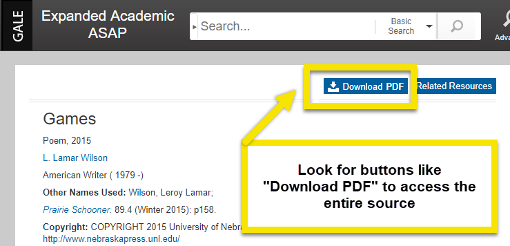 "look for ""Download PDF"" buttons or ""Full text"" to see the whole article."