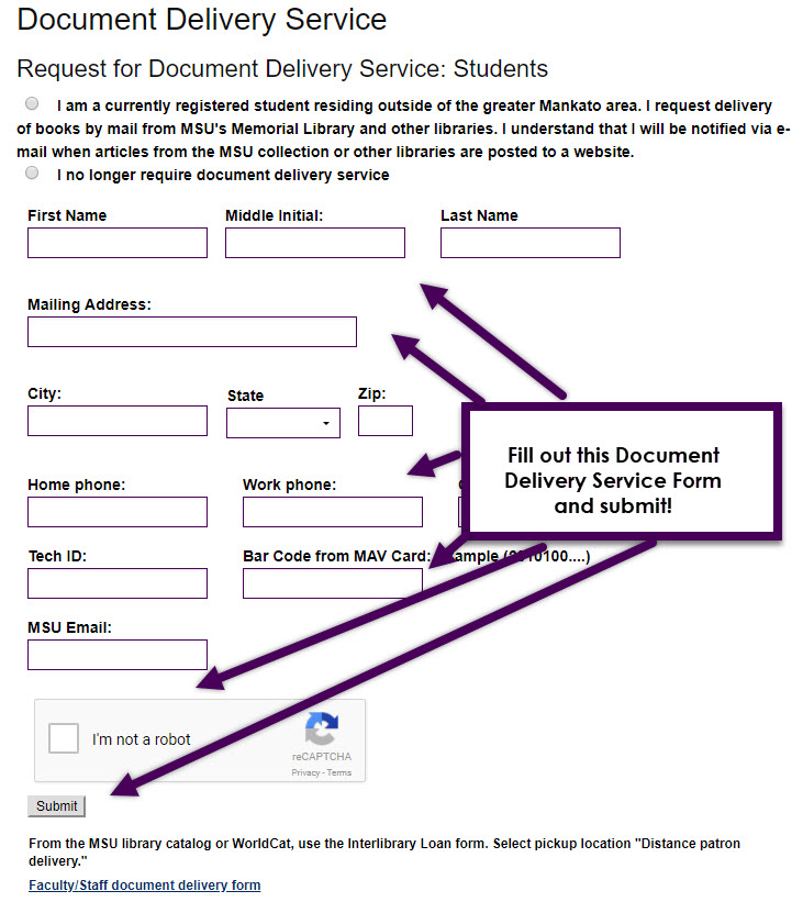 fill out all of the question and hit the submit button in order to request for document delivery
